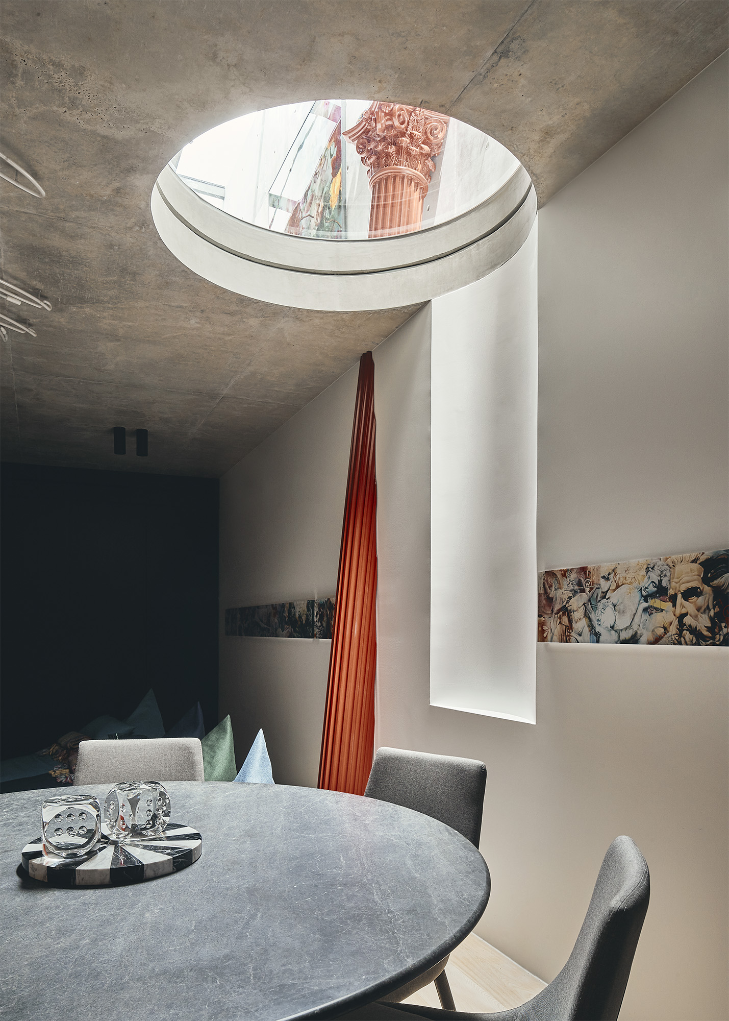 circular skylight in the ceiling