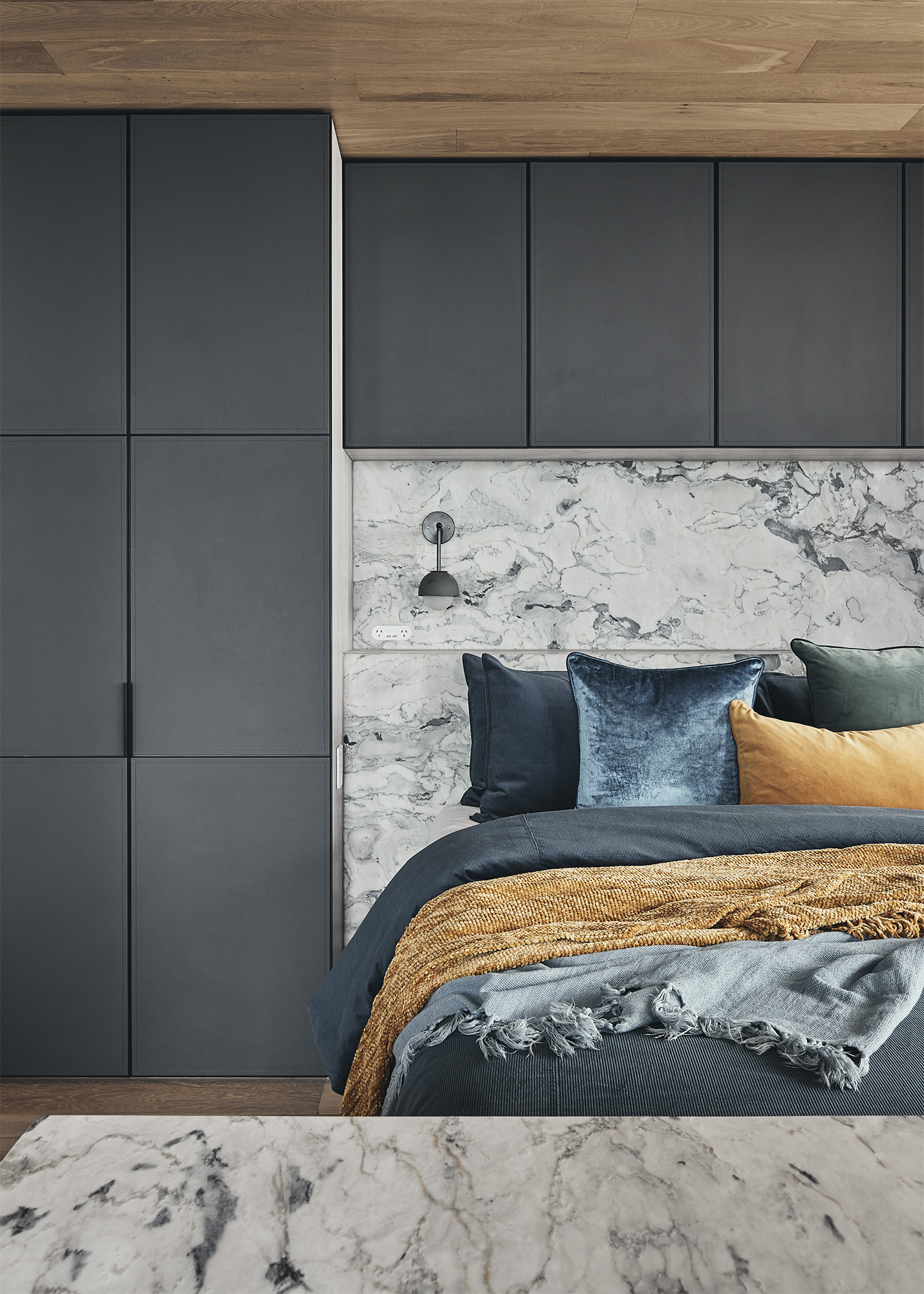 master bedroom with black wardrobes