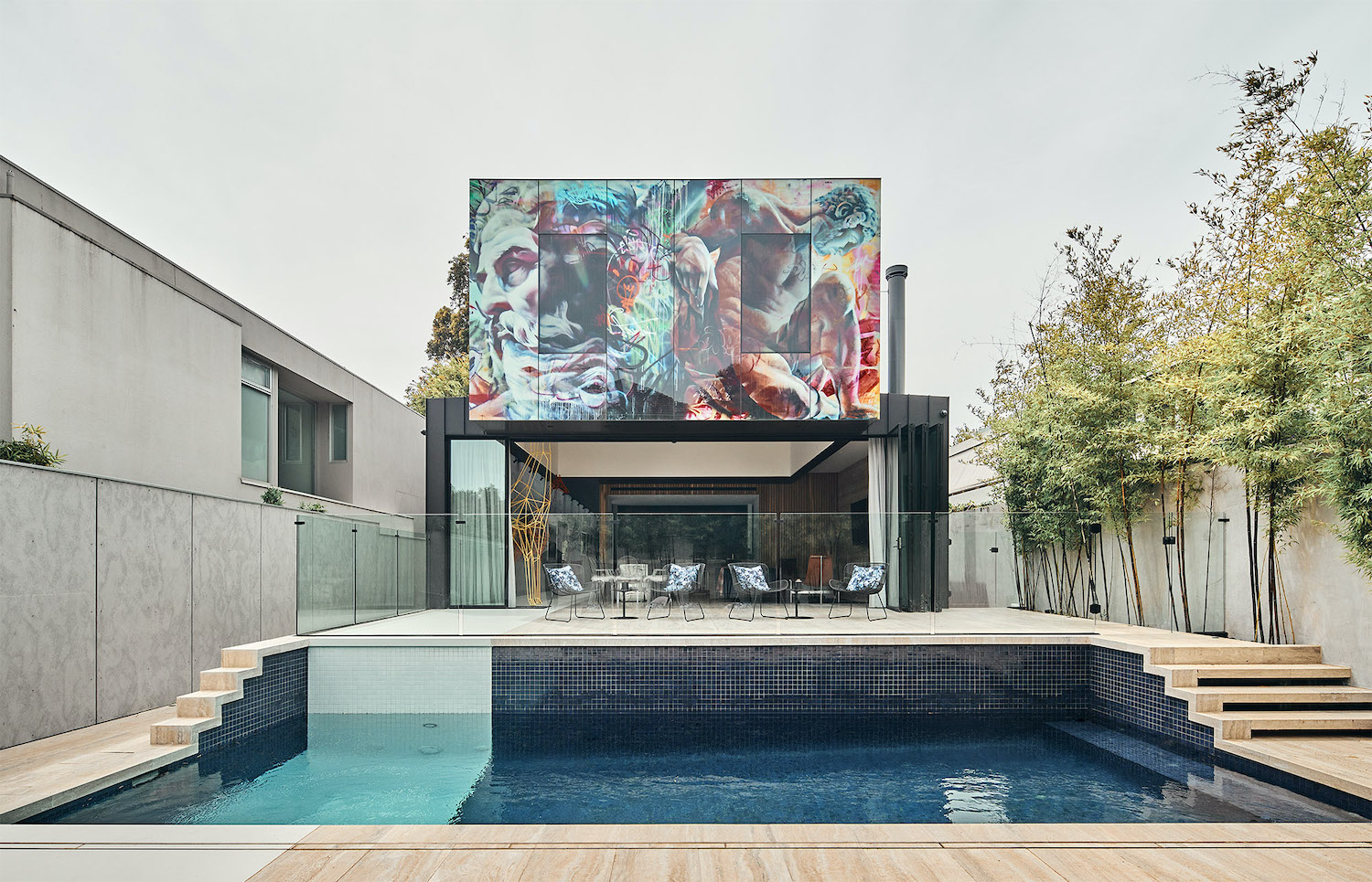 house with pool at backyard