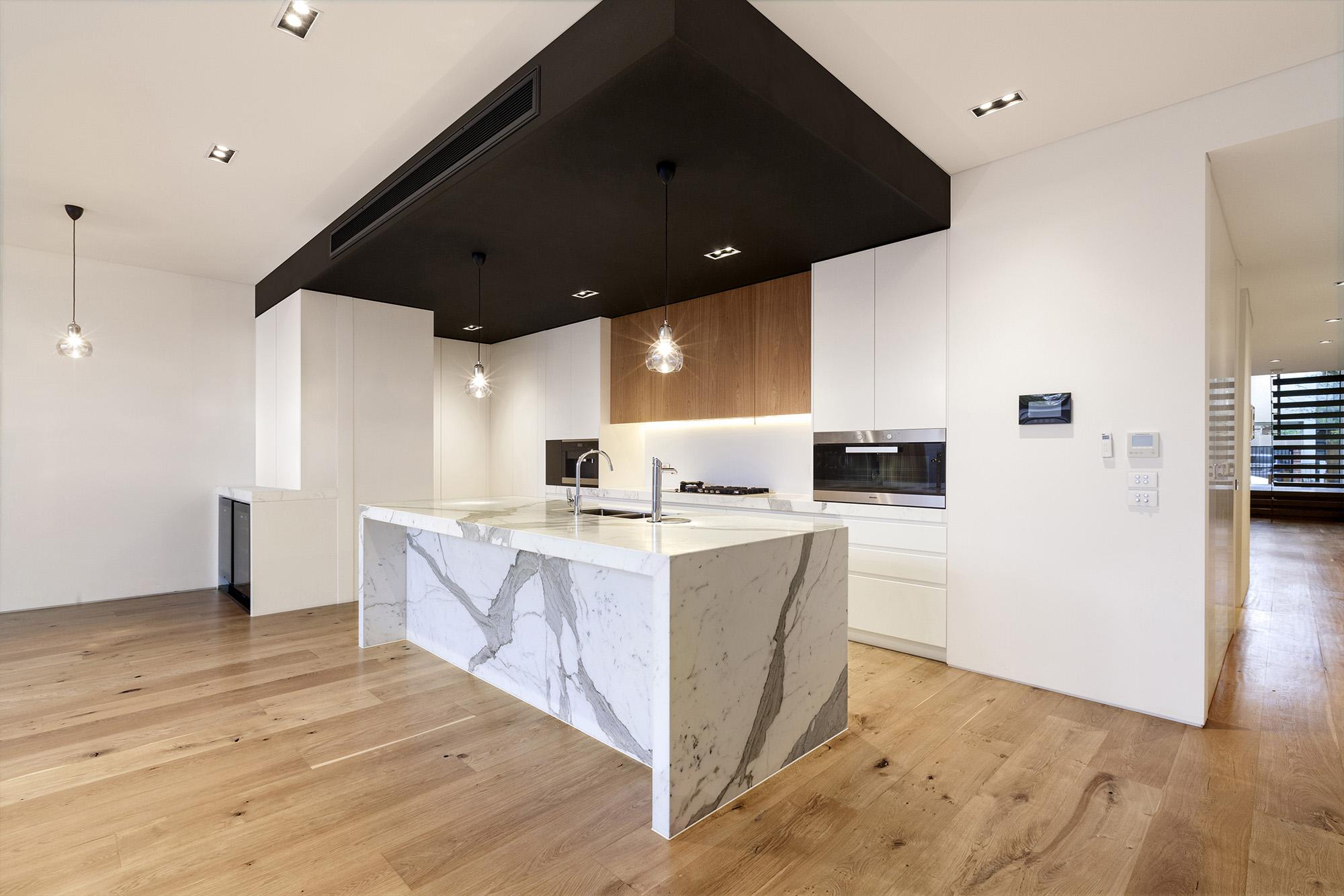 modern kitchen design with marble stone island