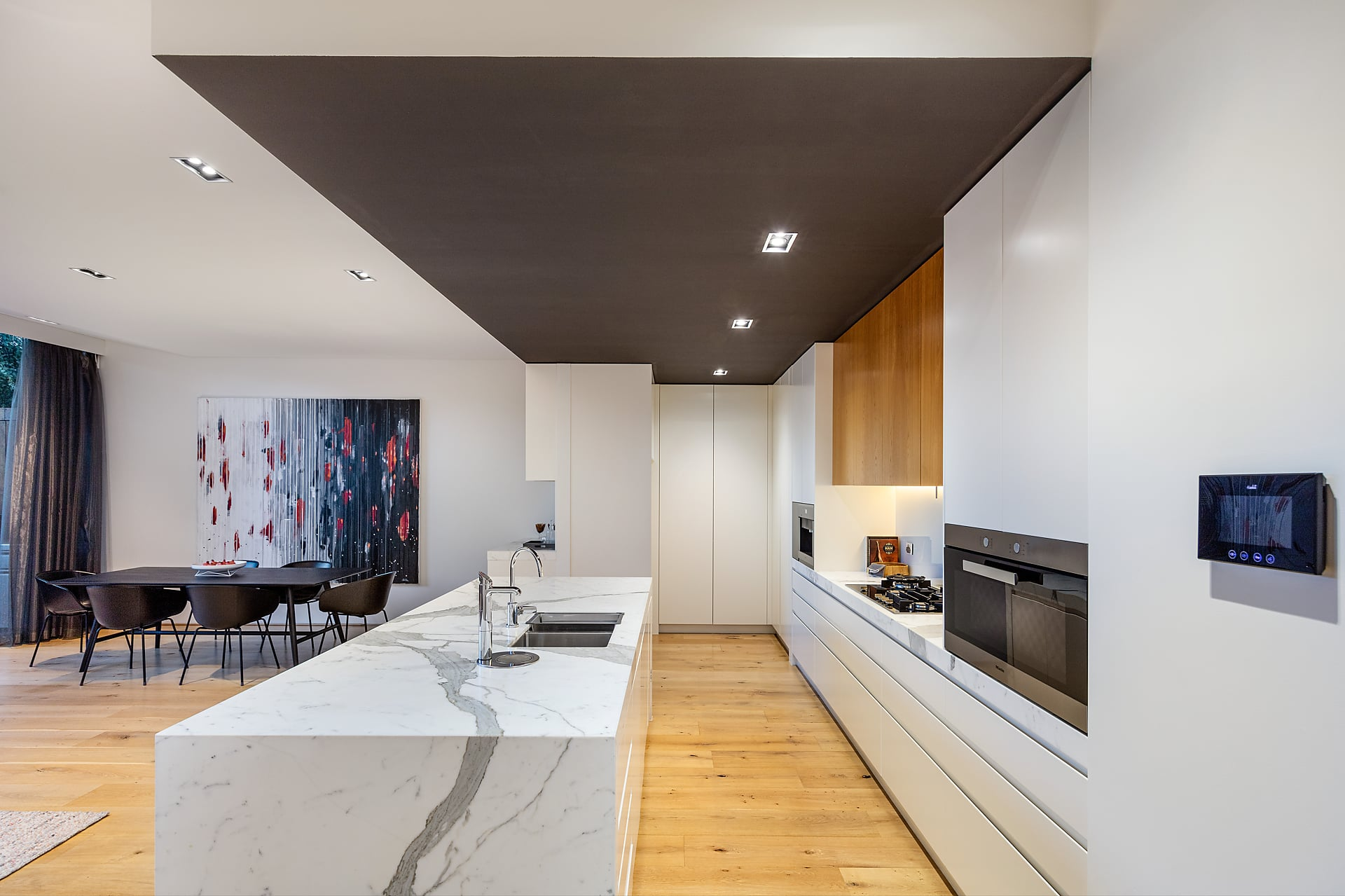 kitchen island made with white marble stone