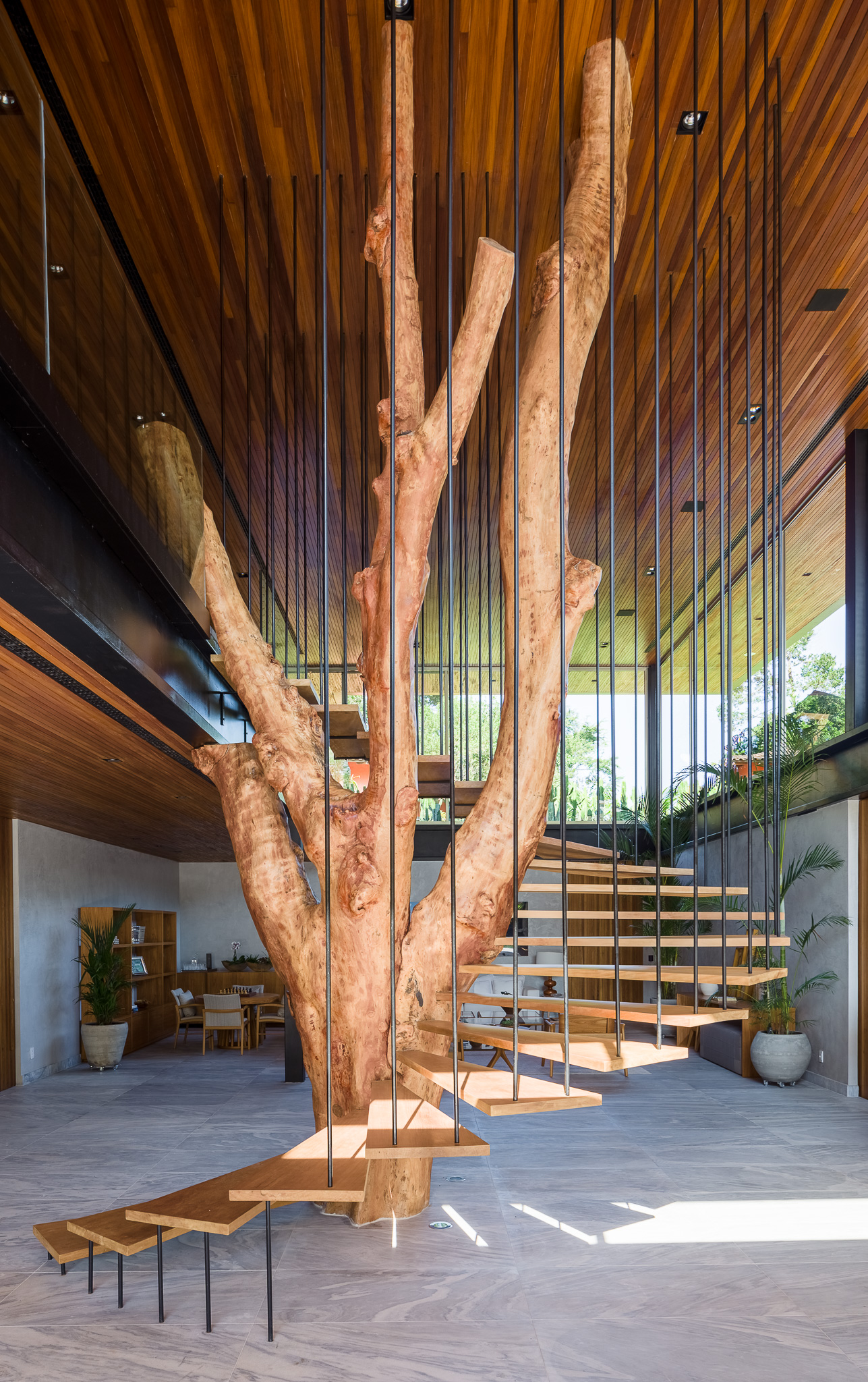spiral staircase with metal handrails around a tree