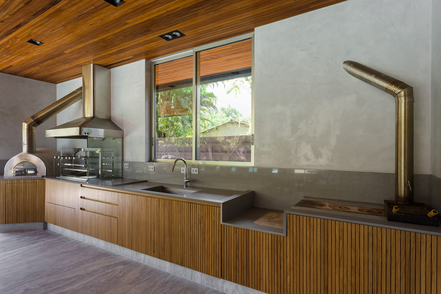 kitchen with wooden cabinet