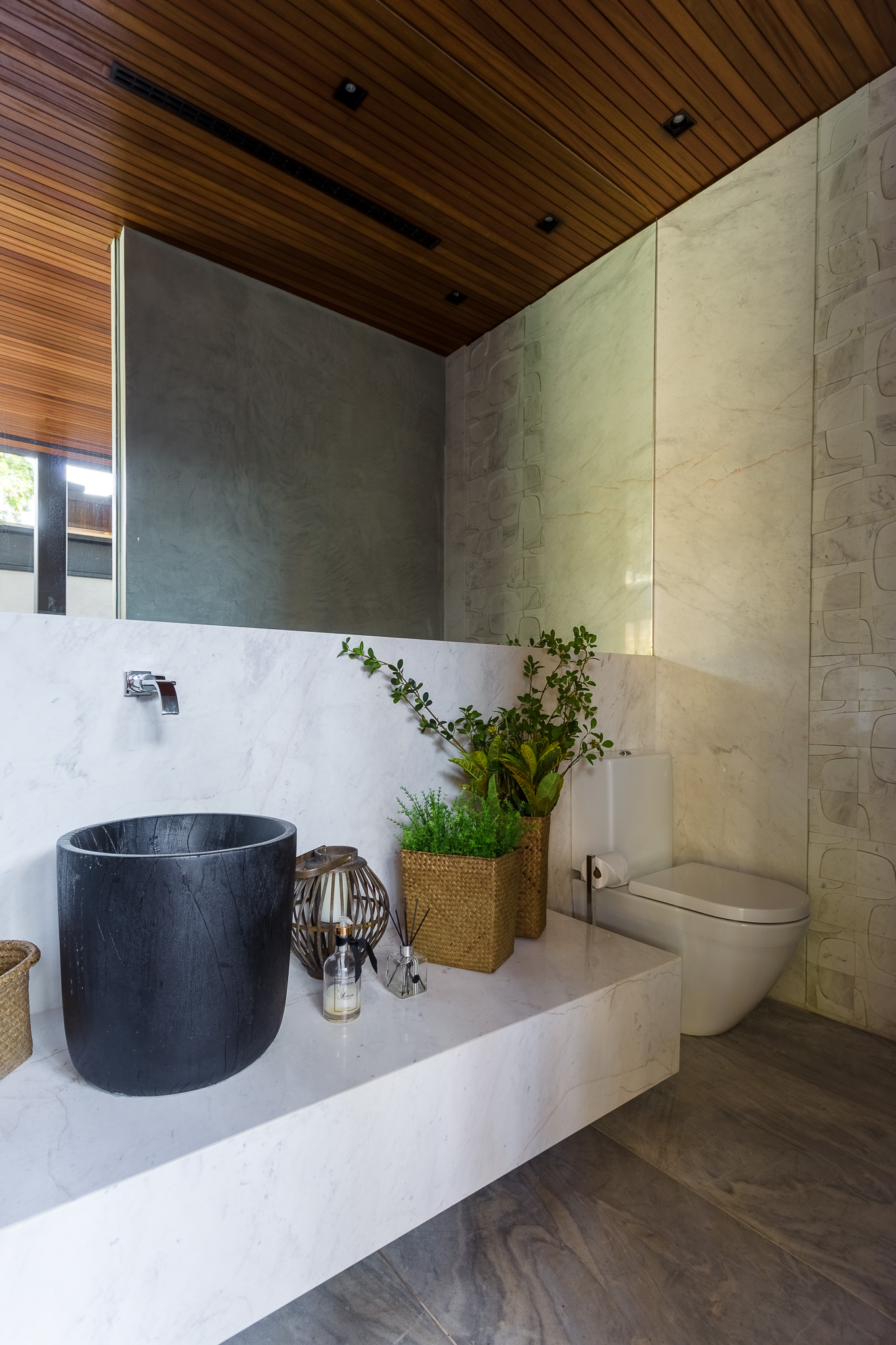 bathroom with marble stone