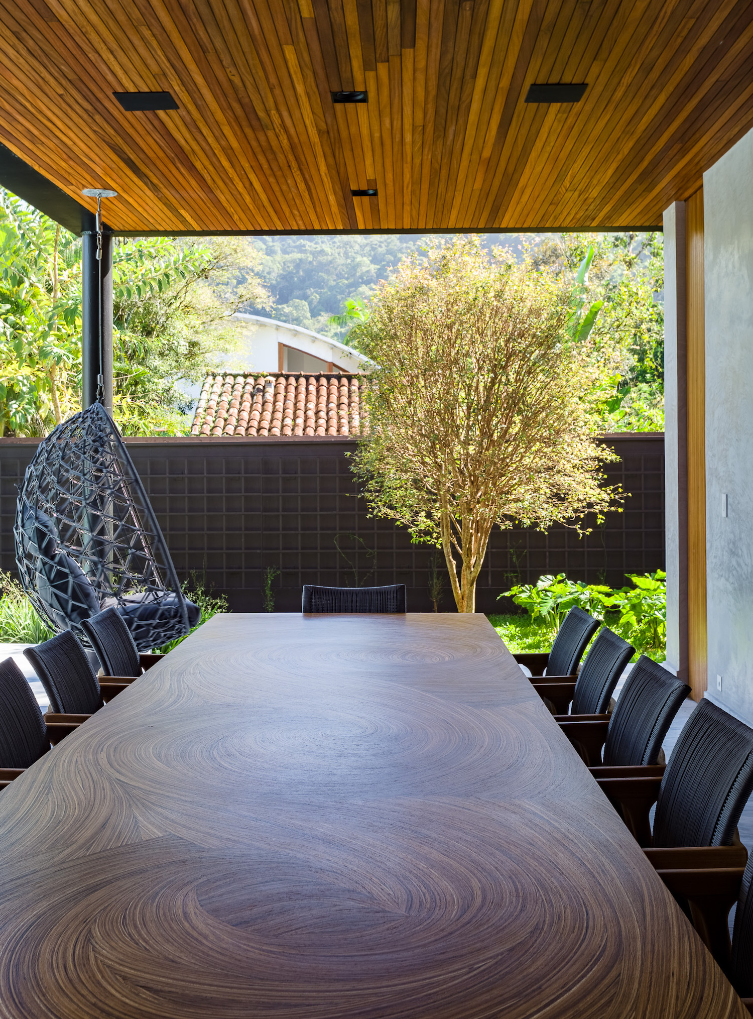 dining table with garden view