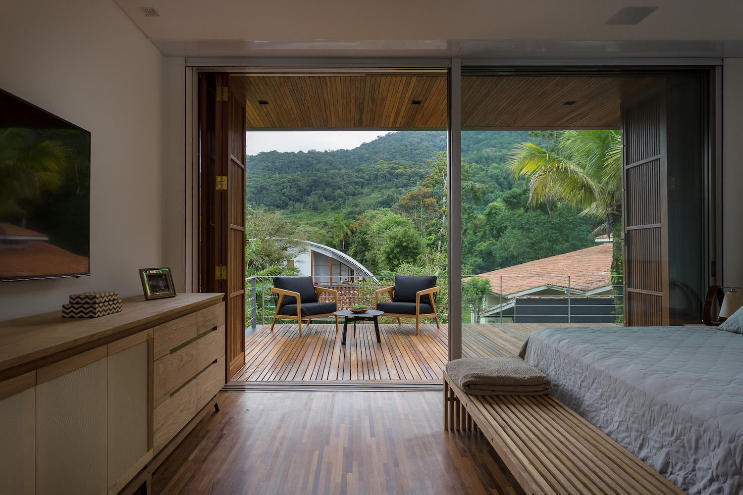 bedroom with forest view