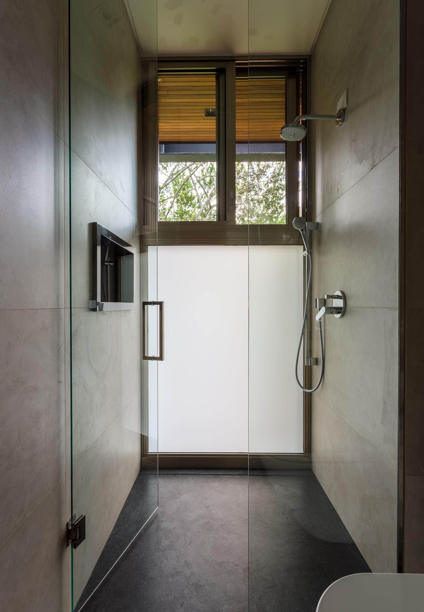 bathroom shower with glass door