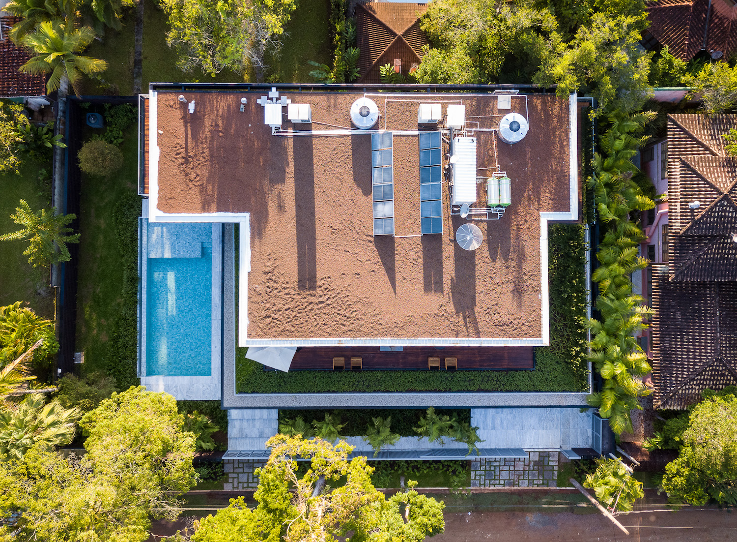 the aerial house view from above