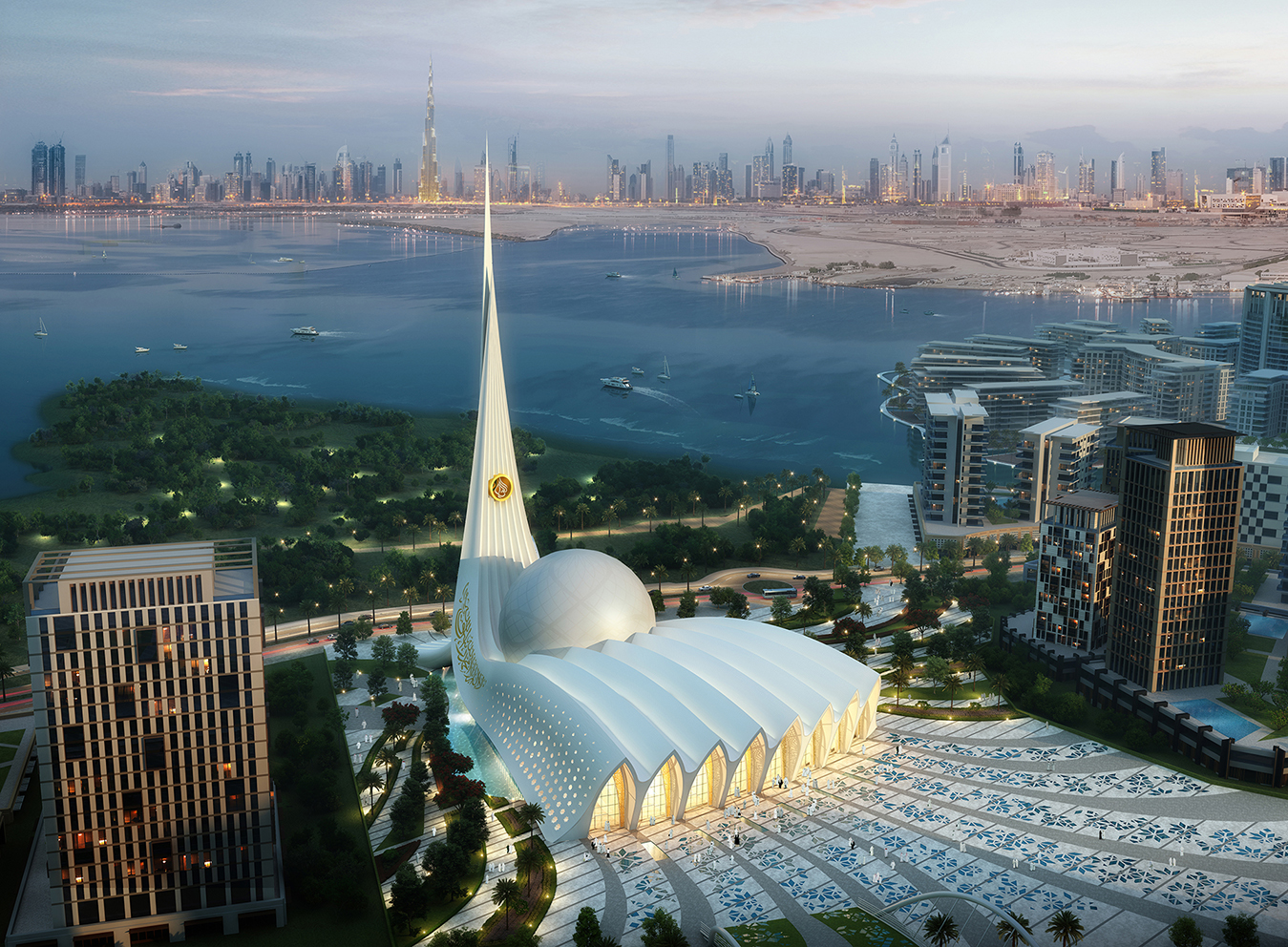 modern mosque at Dubai Creek harbor