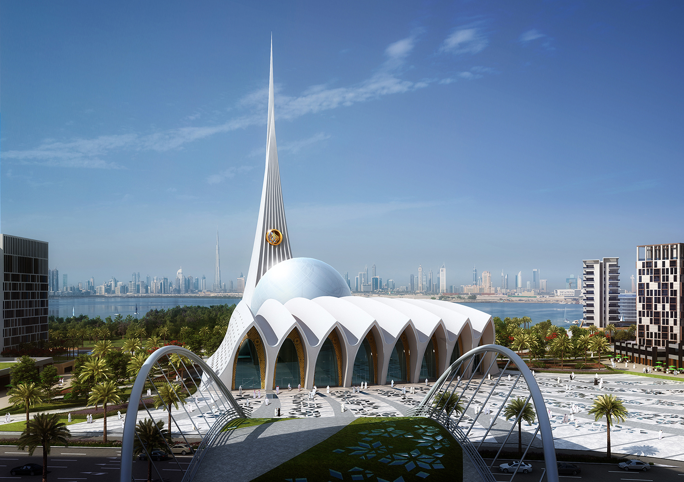 iconic mosque in Dubai inspired by pearl and shell