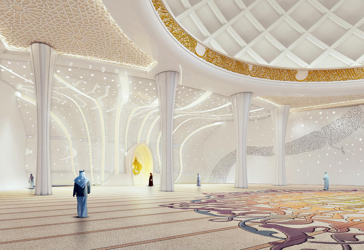 Islamic mosque interior with illumination