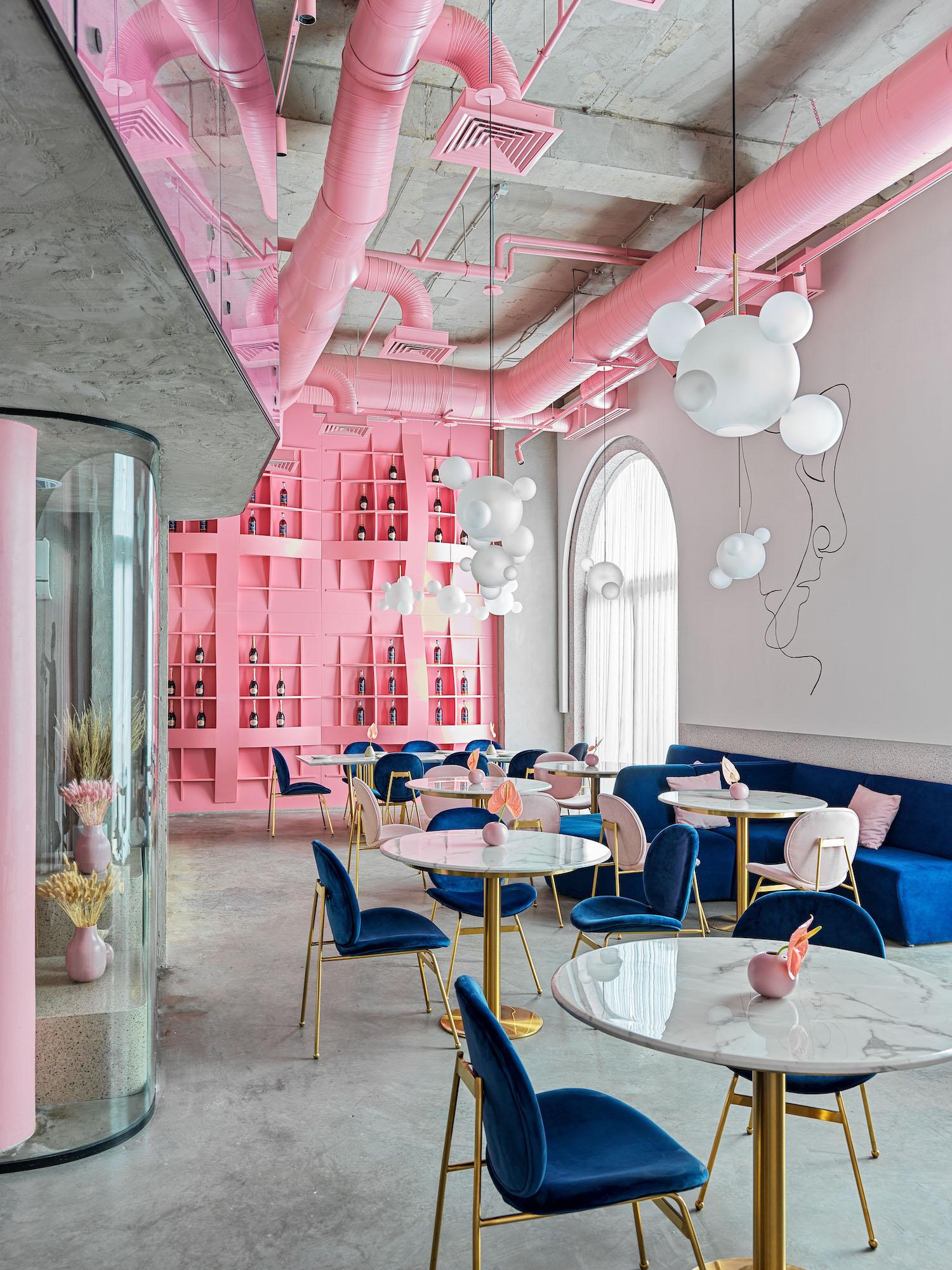 restaurant with oink shelves inside in Almaty Kazakhstan