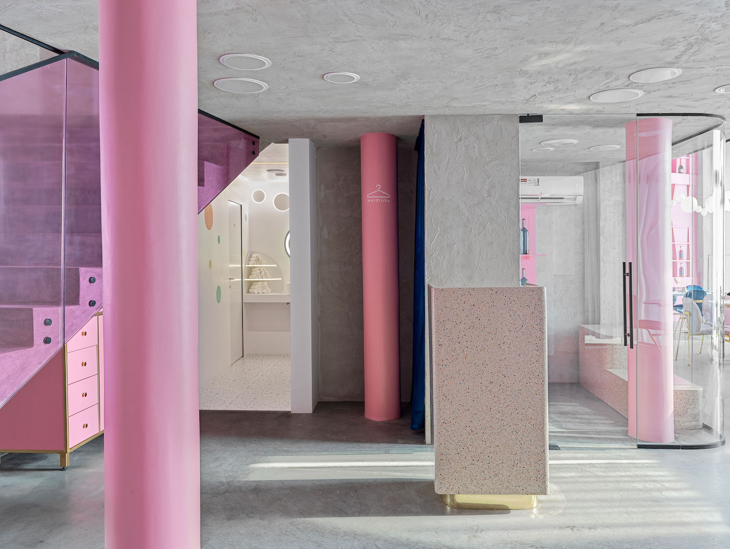 pink colored column