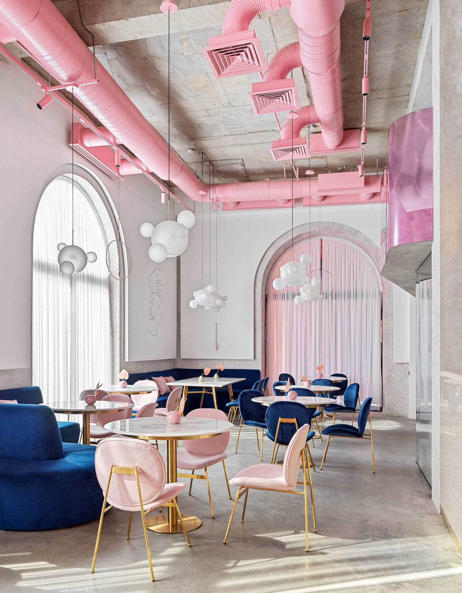 pink pipes in the ceiling
