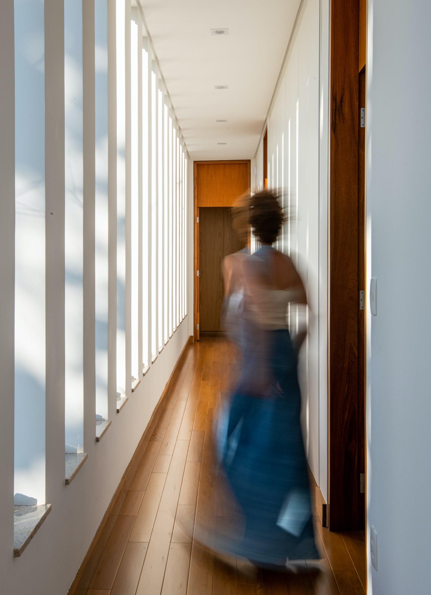 woman walking in the corridor