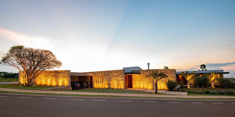 stone house facade with illumination