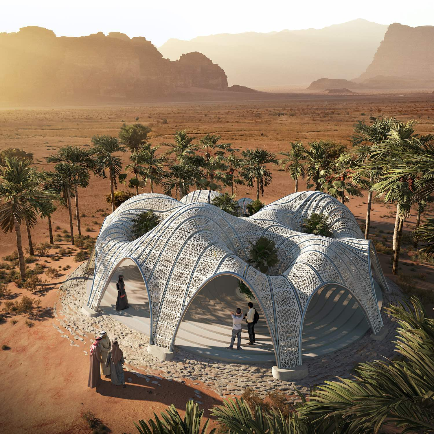 a 3d printed desert pavilion in Wadi Rum Jordan designed by MEAN