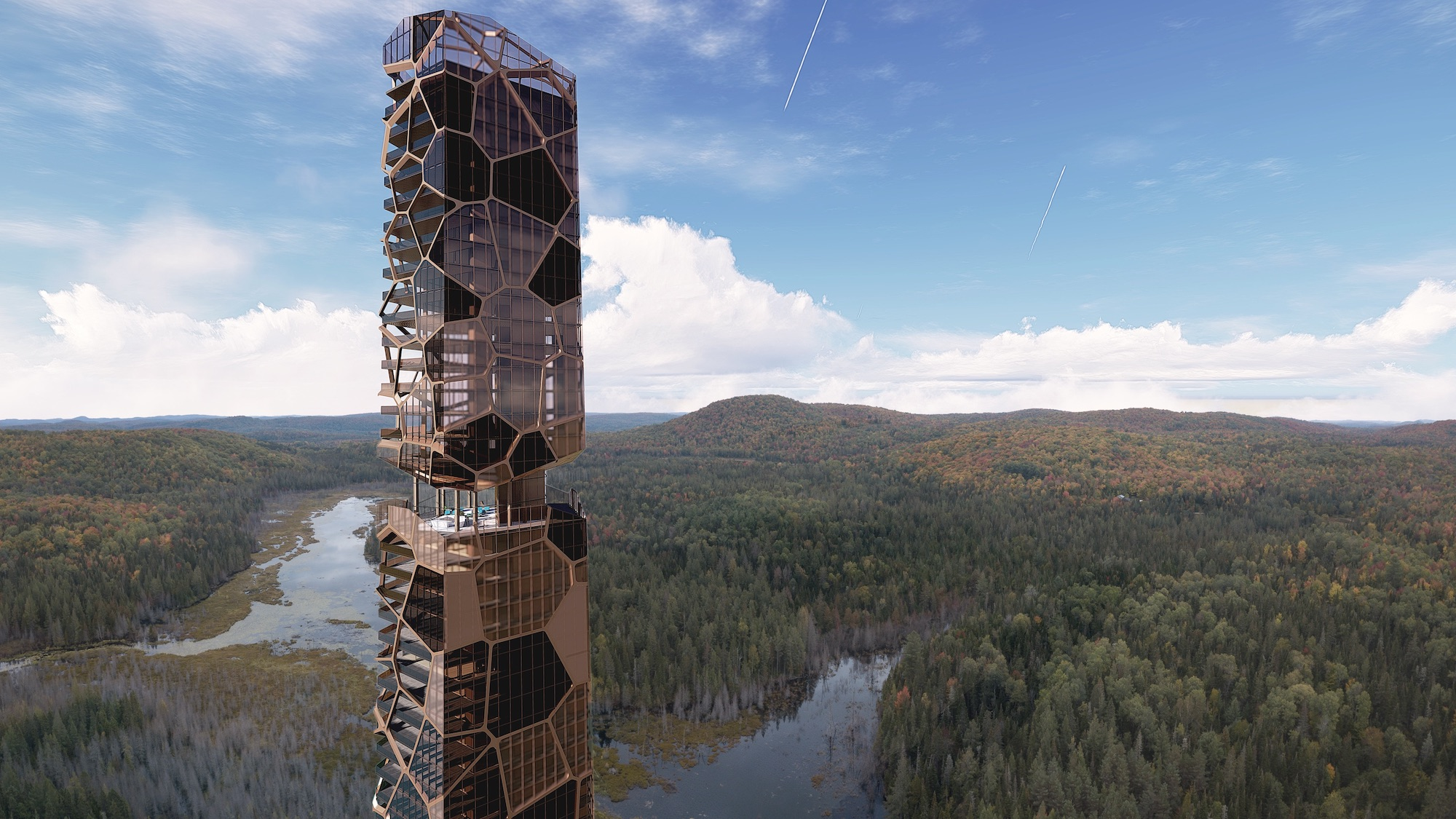 a residential tower in a middle of forest in Quebec Canada