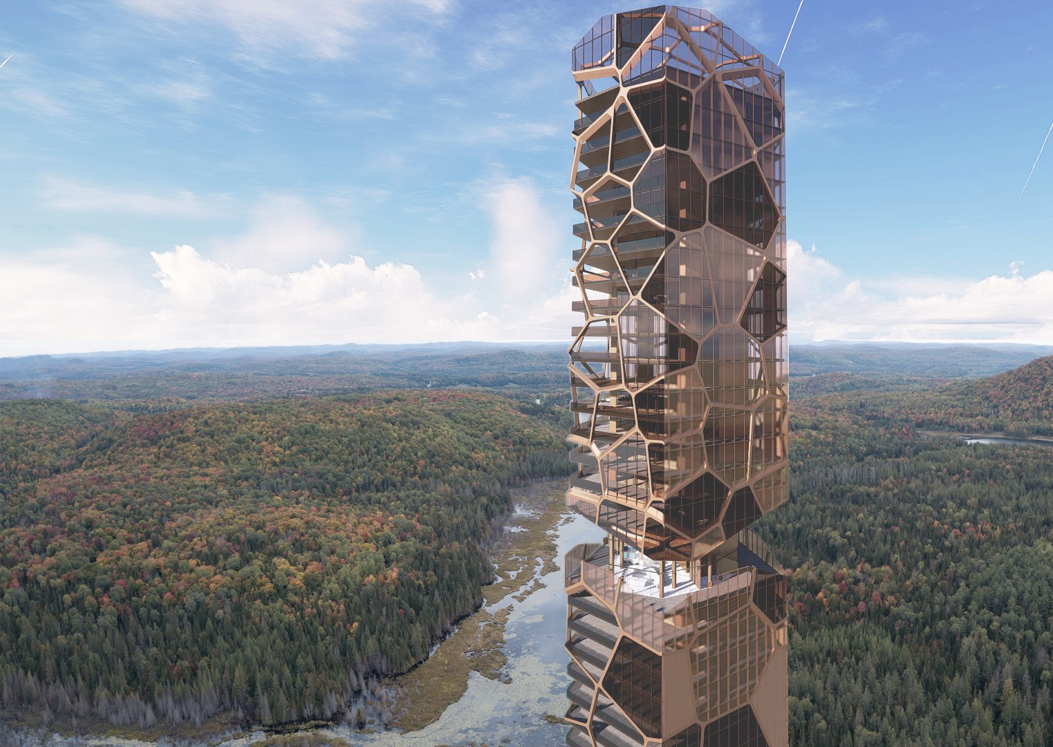 residential tower with forest view