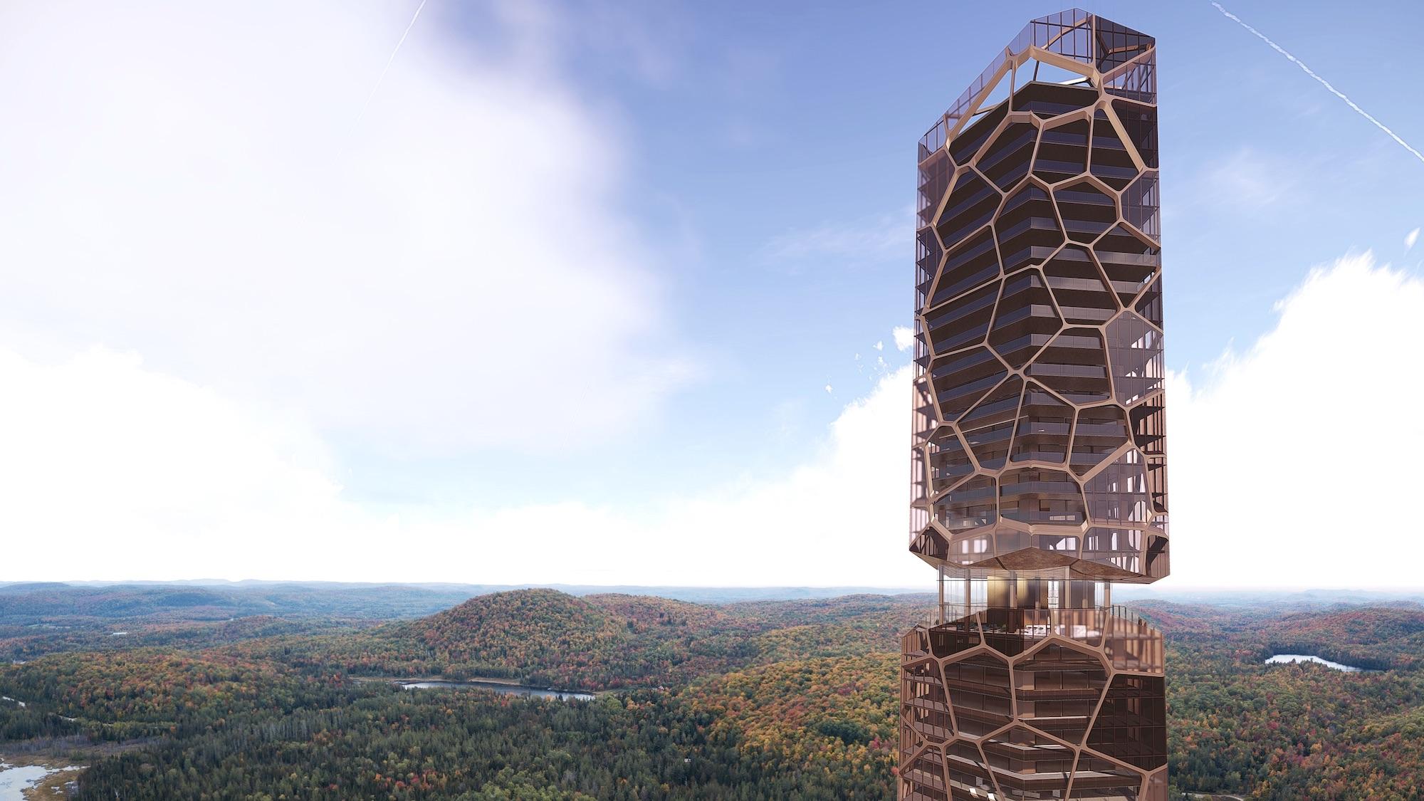 a skyscraper in a remote forest in Canada