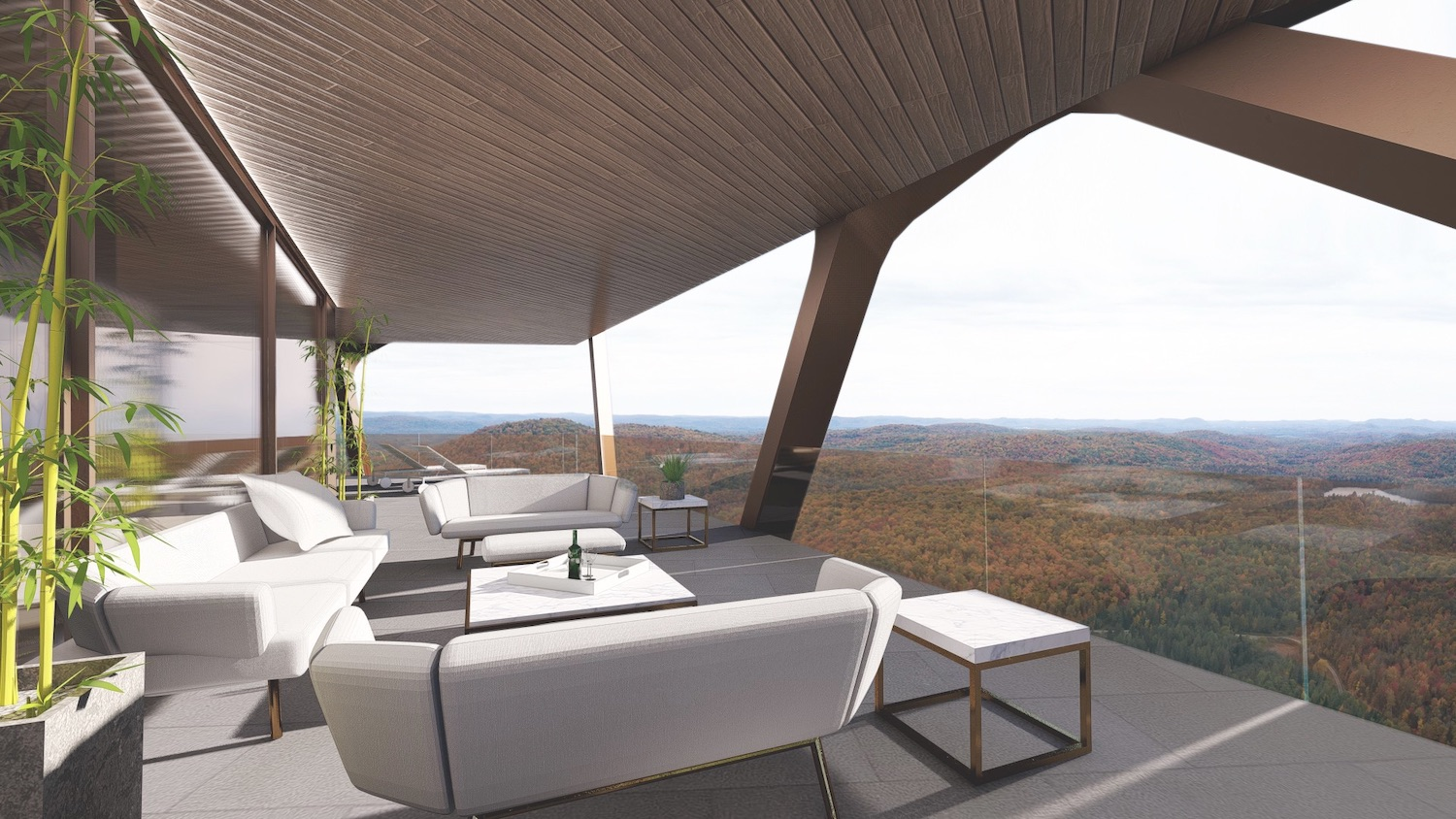 living room with spectacular forest view