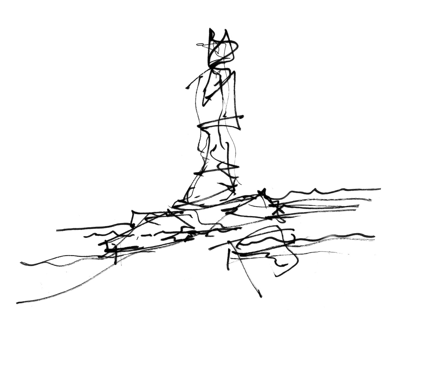 architectural sketch of a tower