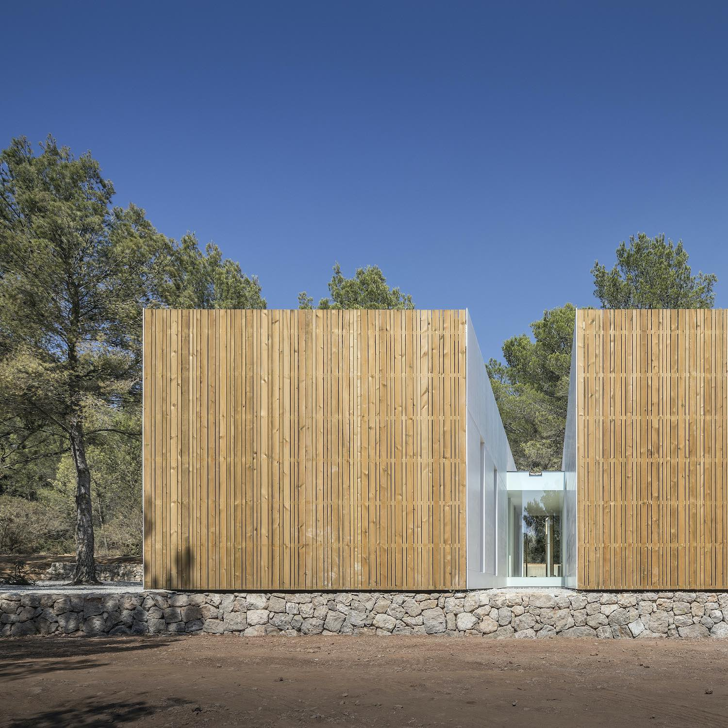 the exterior facade made with wooden material