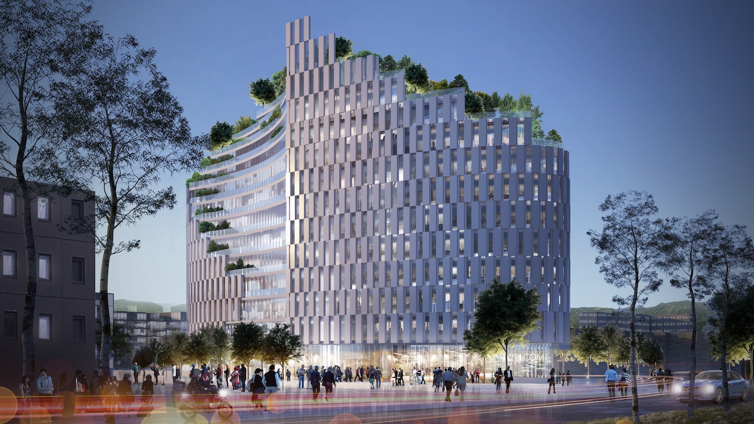 rendering image of residential building with roof trees