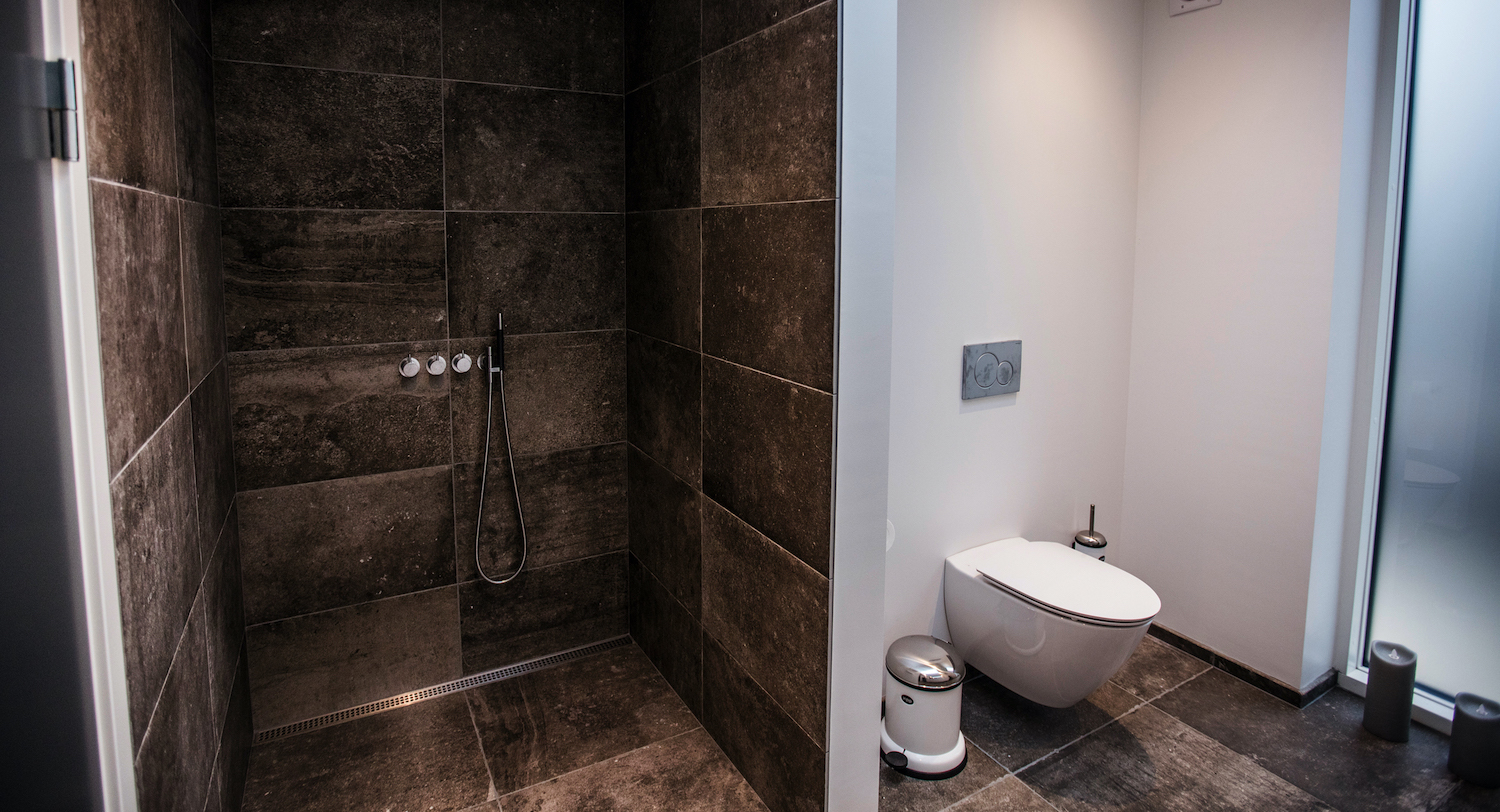 toilet with brown tiles