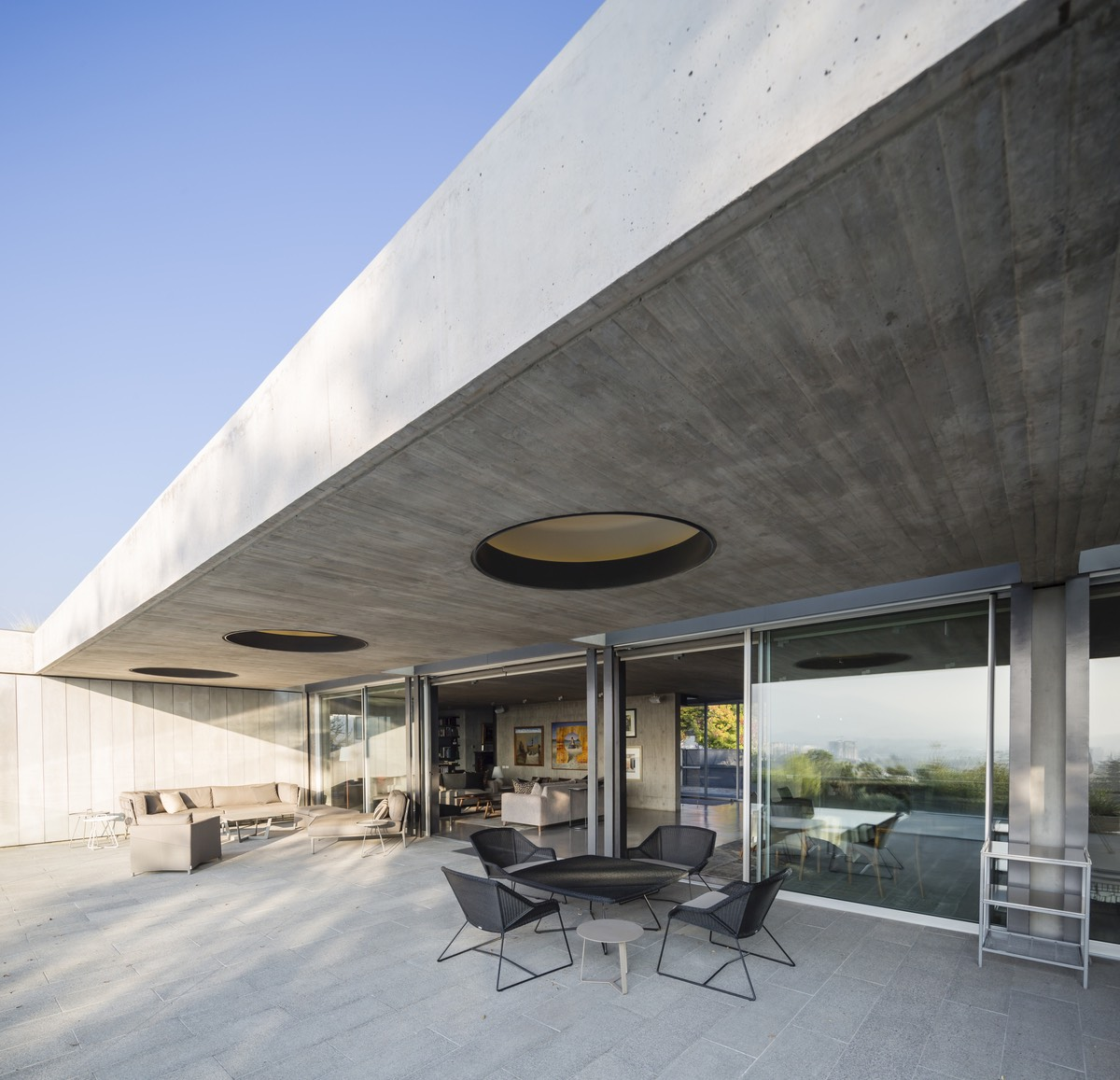 the terrace of the concrete house
