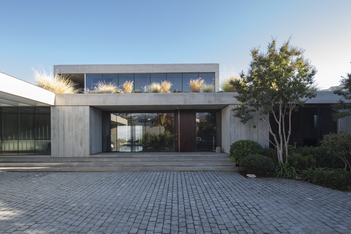 the concrete walls with glass window