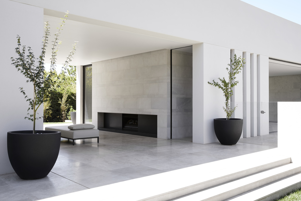 The fireplace inside the Red Hill House designed by Mathieson Architects