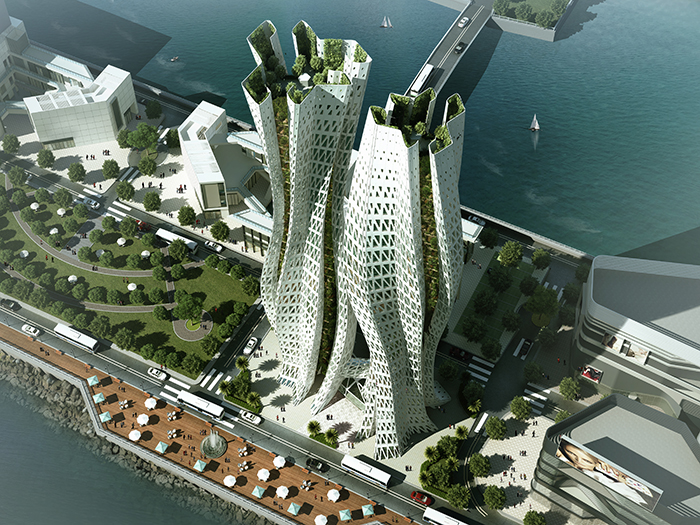 skyscraper with green architecture near sea
