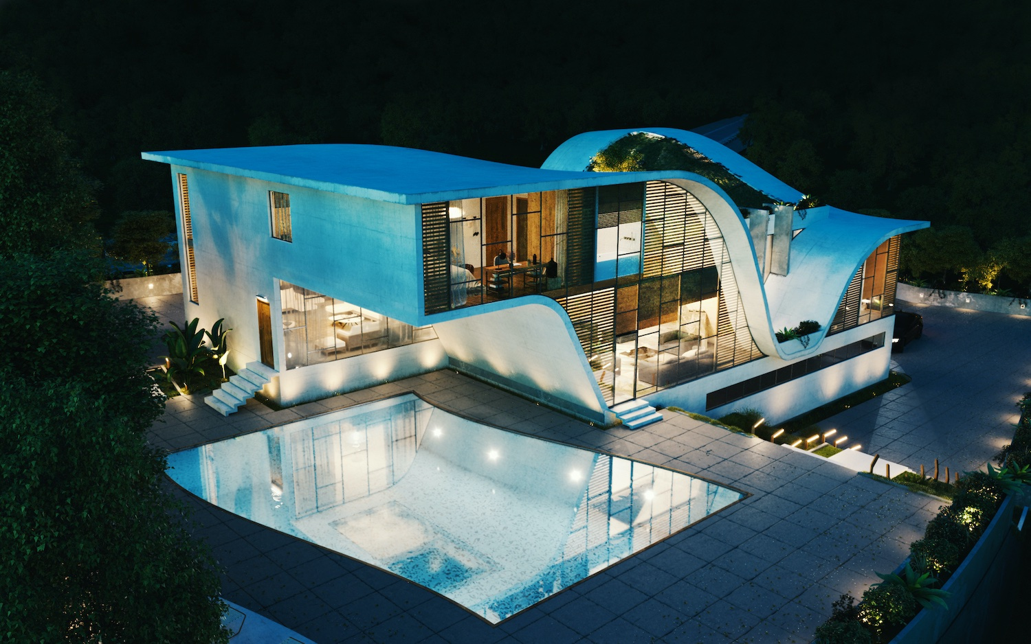 a curvy house with outdoor pool