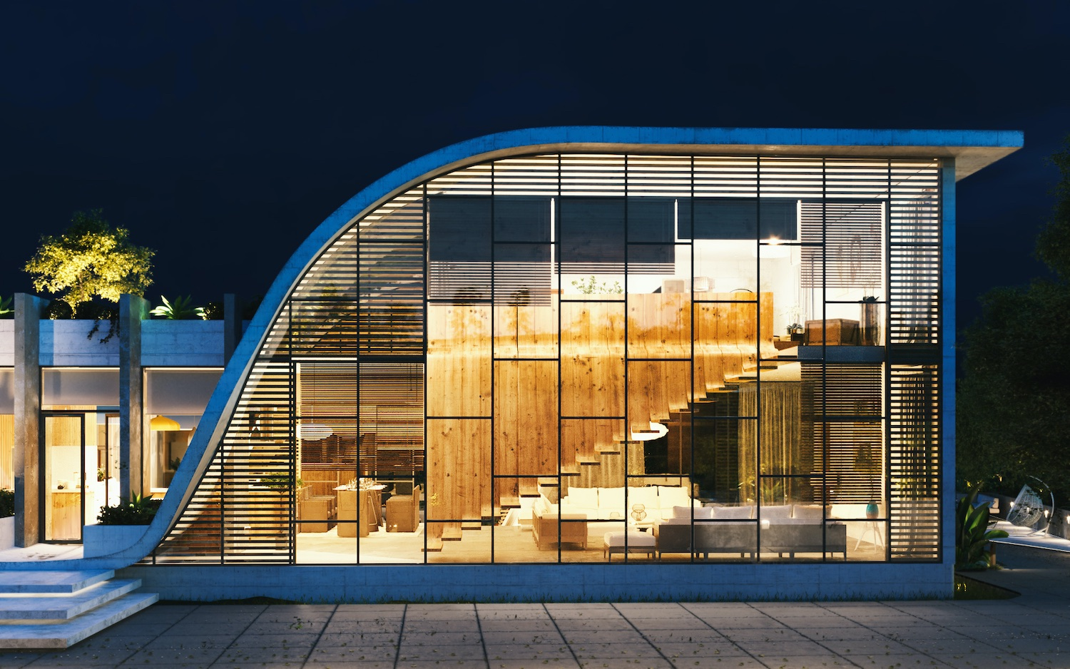 curvy facade with large windows let you to see the interior