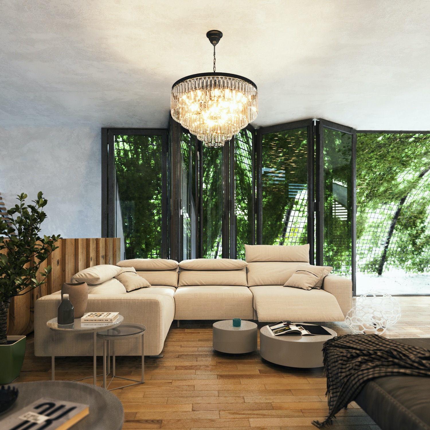 living room with pendant lamp