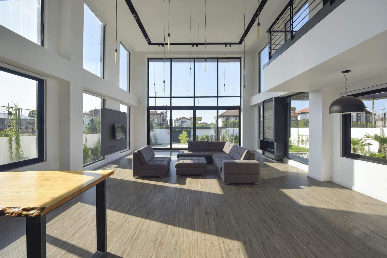 double volume living room