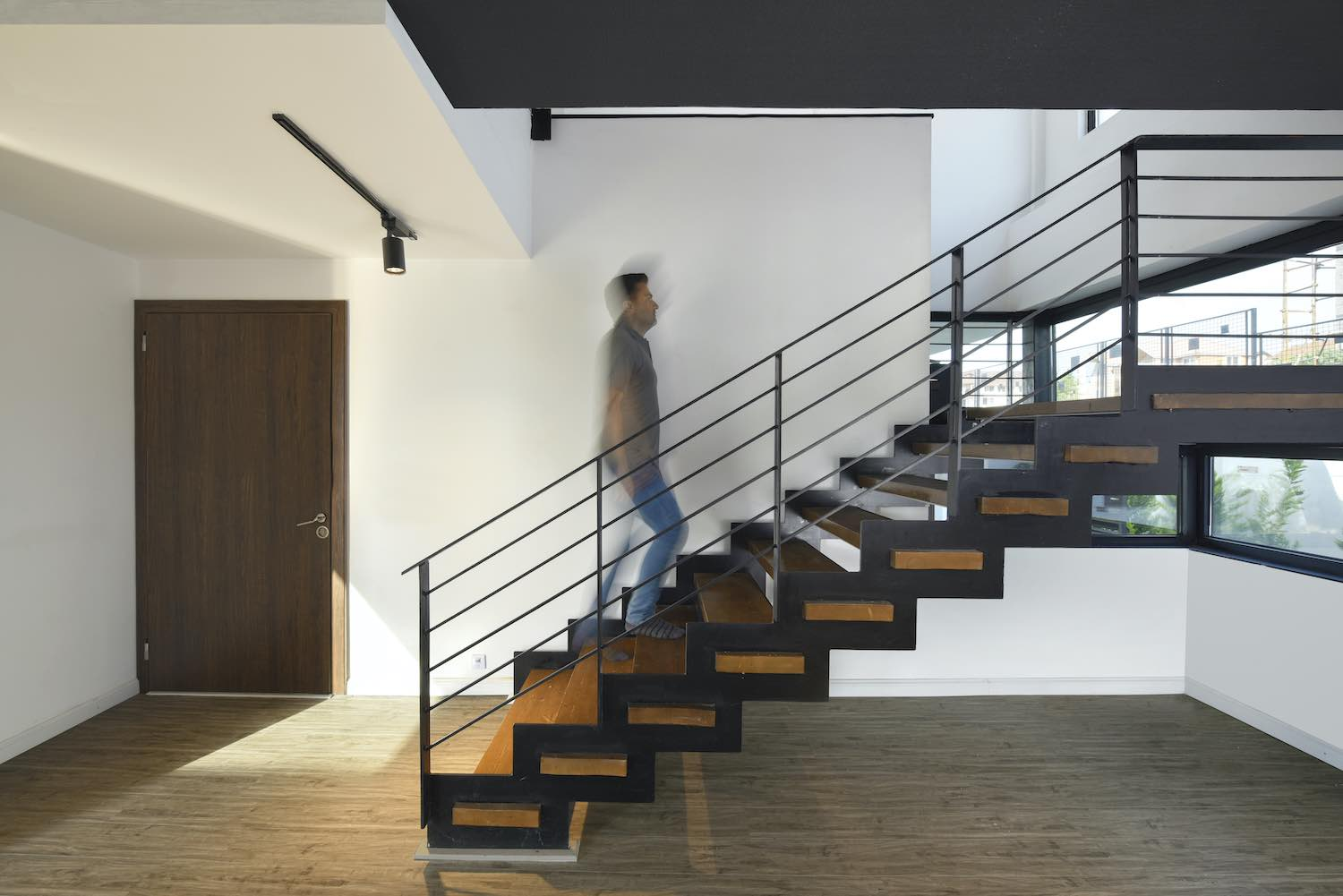 staircase made of wood and steel