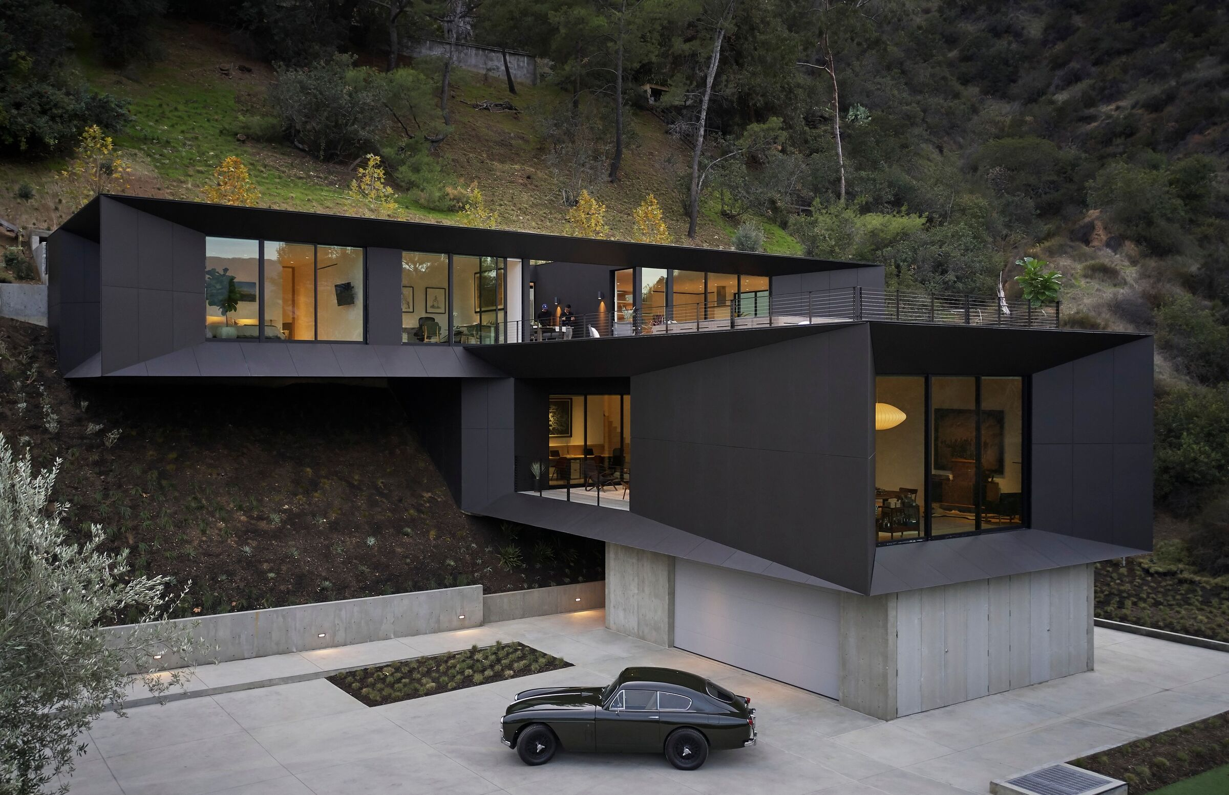 house in black during night