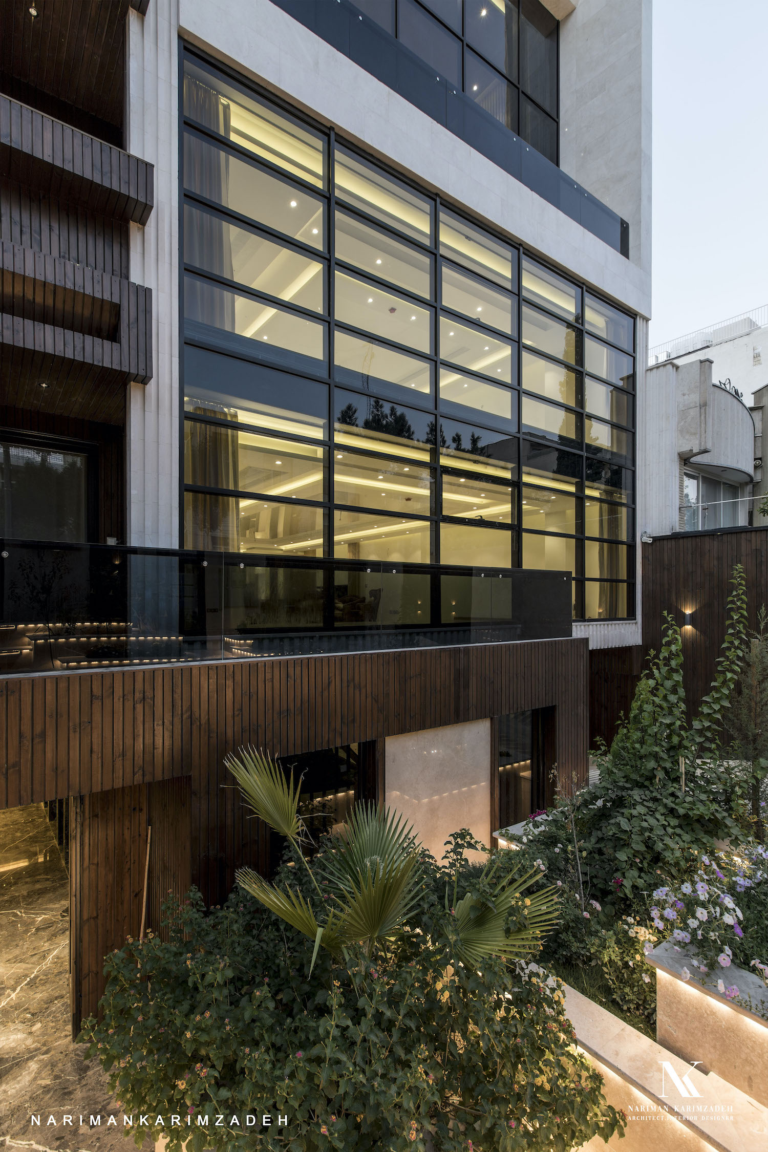 glass facade and wooden material