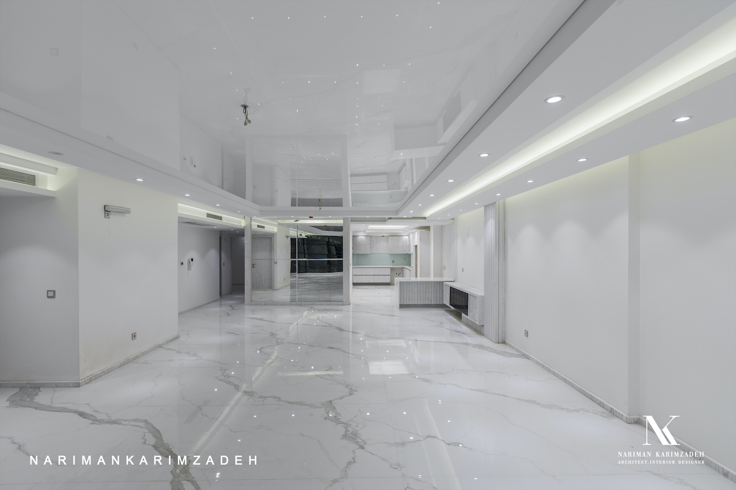 white room with marble flooring