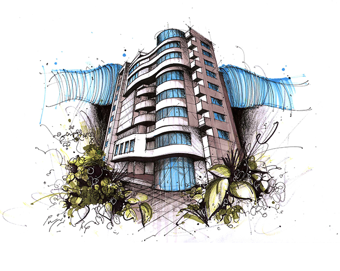 Architectural sketches by Nasrin Salami