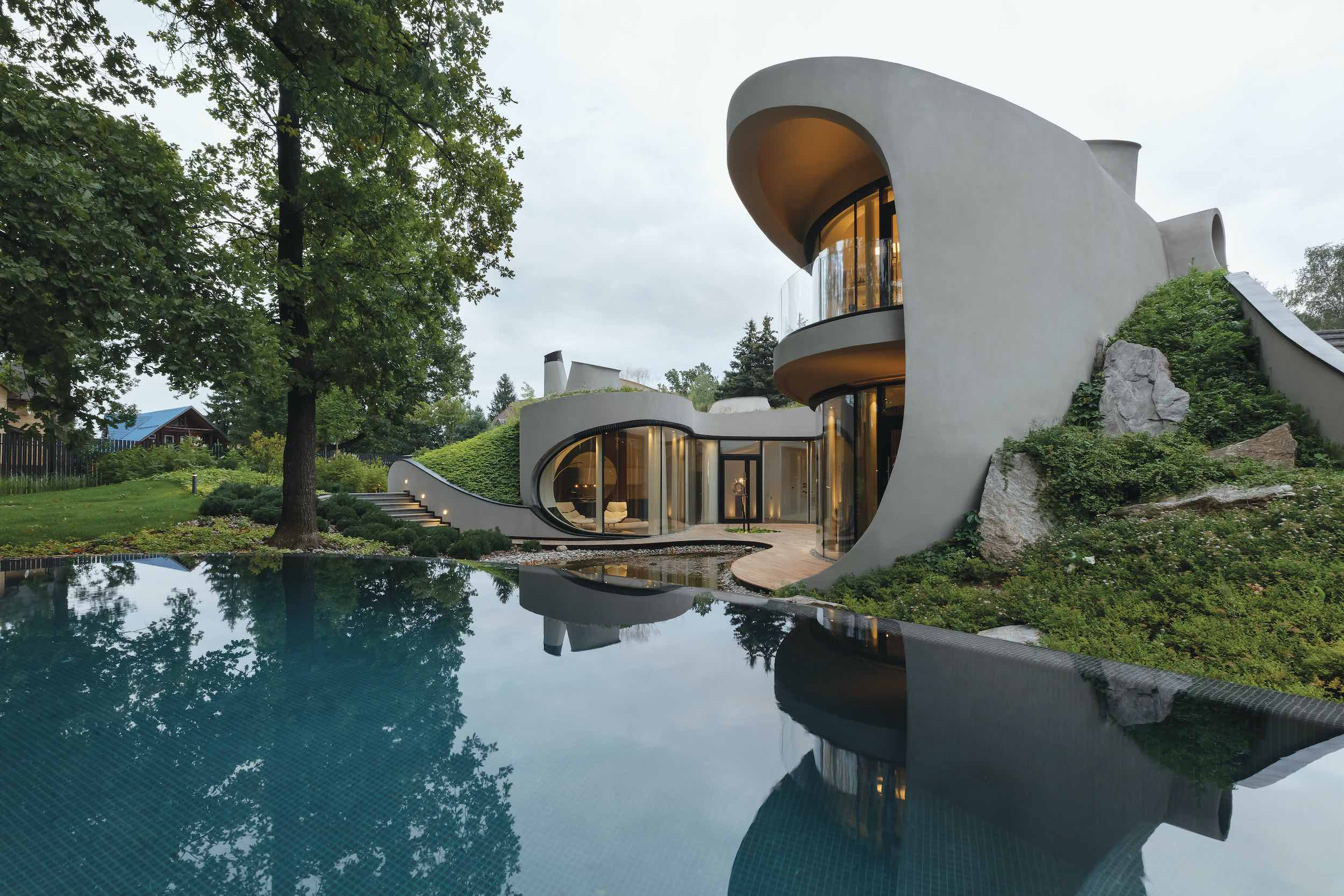 reflection of the organic house in water