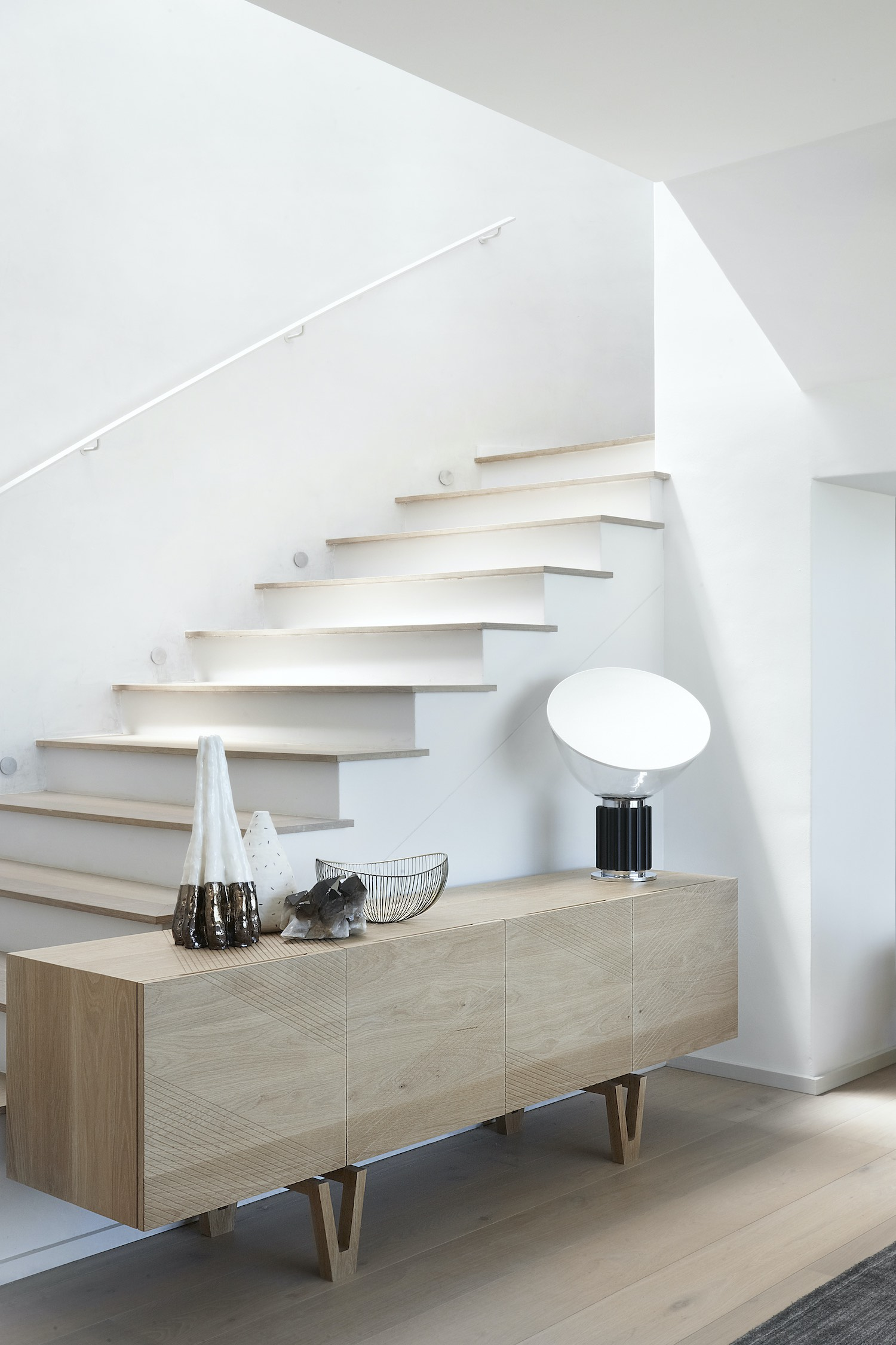 table lamp near the staircase