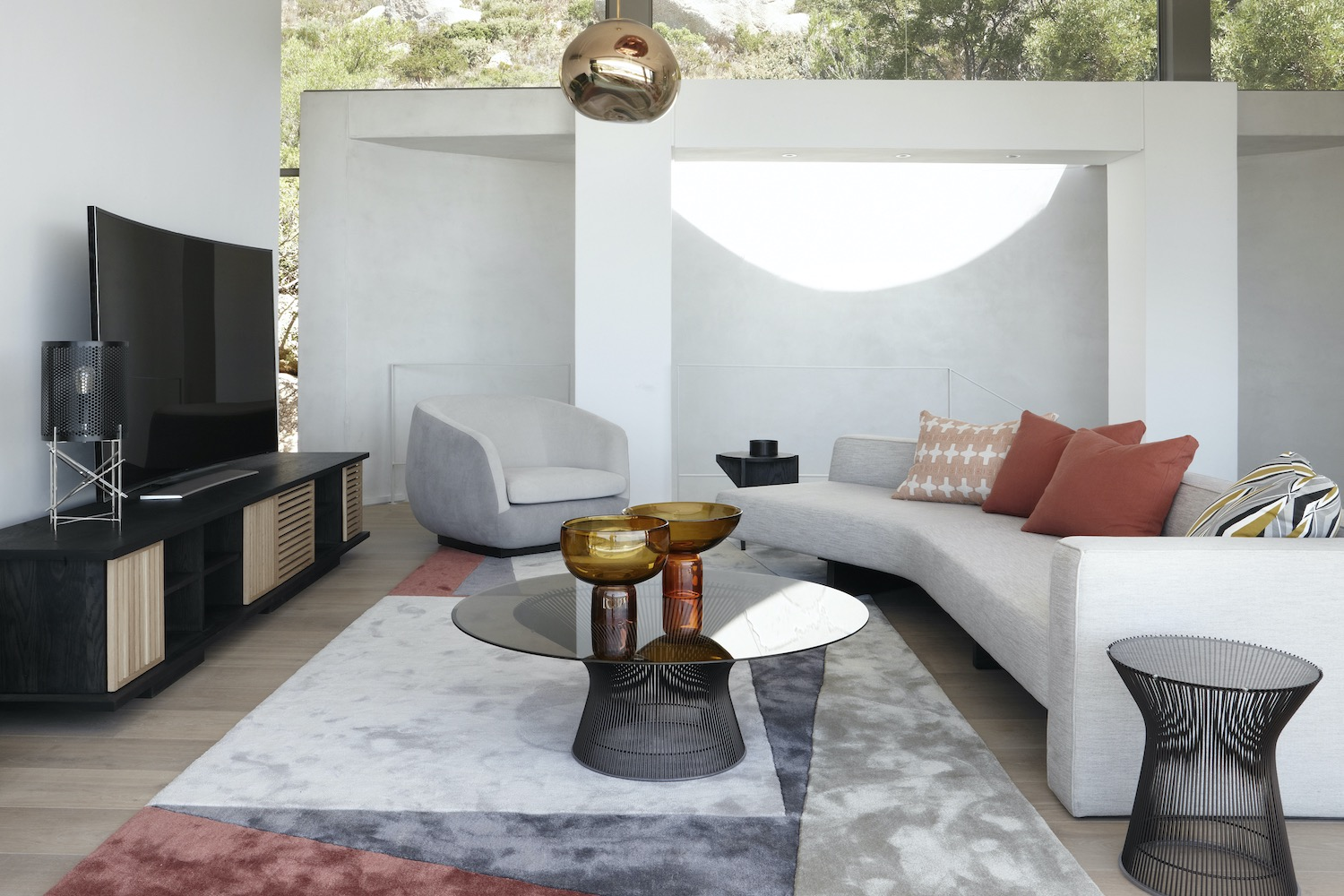 living room design with cozy and comfortable sofa