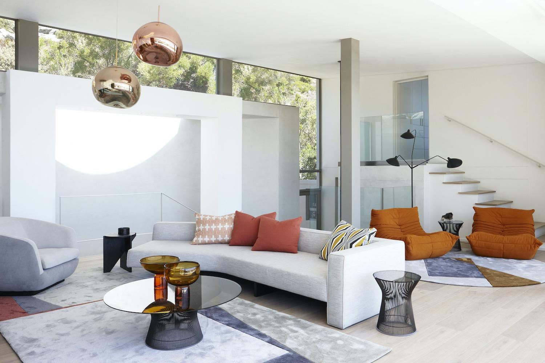 fashionable circular sofa in the living room