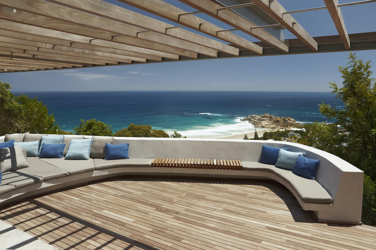 wooden deck terrace with sea and beach view