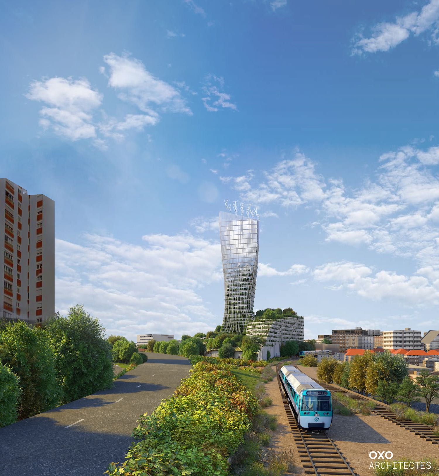 rendering image of a mixed-use tower in France