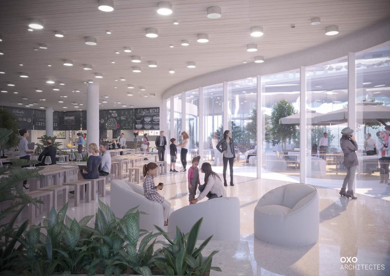 white sofas in the lobby area