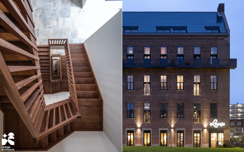 wooden staircase Transformatie PTT gebouw, Binnenrotte Rotterdam, NL © Ossip van Duivenbode